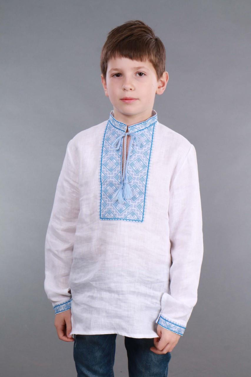 Вышиванка для мальчика 2004, голубая вышивка - фото 8