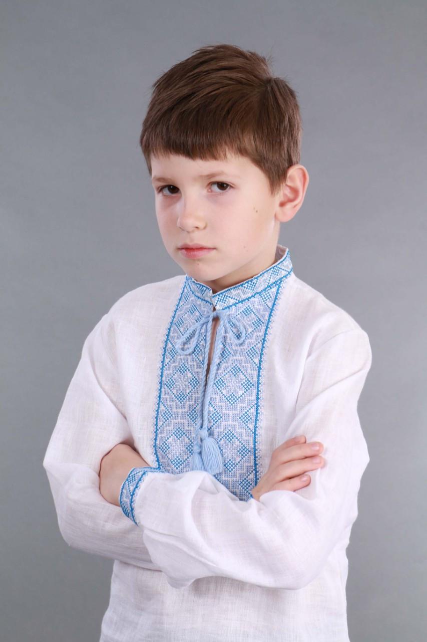 Вышиванка для мальчика 2004, голубая вышивка - фото 3