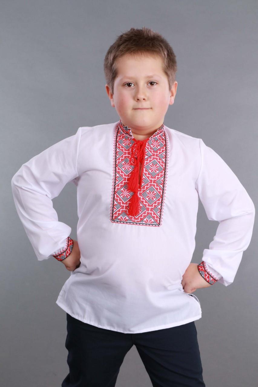 Детская вышиванка на мальчика, красно-черный узор Собственное производство - фото 3