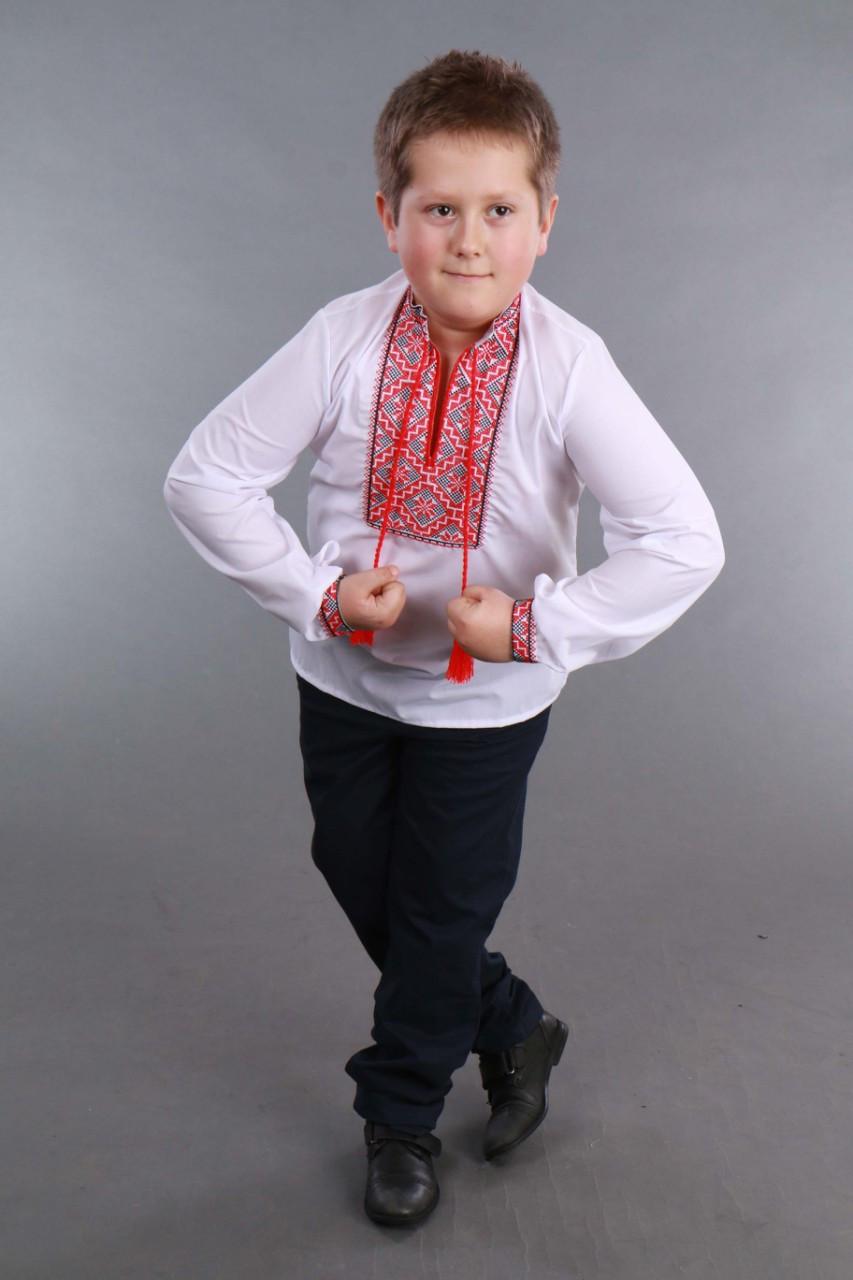 Детская вышиванка на мальчика, красно-черный узор Собственное производство - фото 5