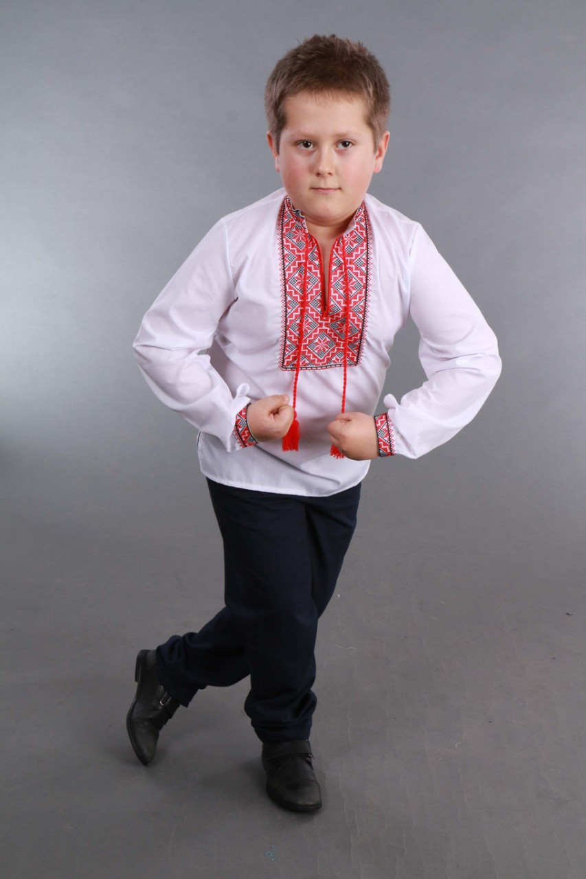 Детская вышиванка на мальчика, красно-черный узор Собственное производство - фото 4