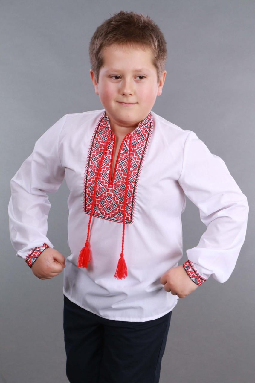 Детская вышиванка на мальчика, красно-черный узор Собственное производство - фото 7