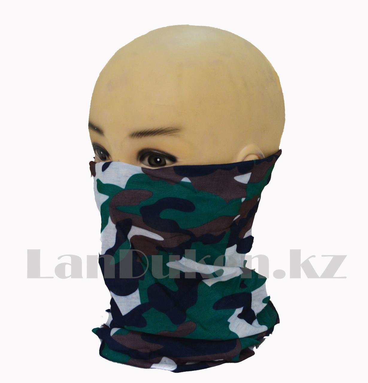 Бандана (бафф) Multi Scarf Military сине-зеленая большой принт