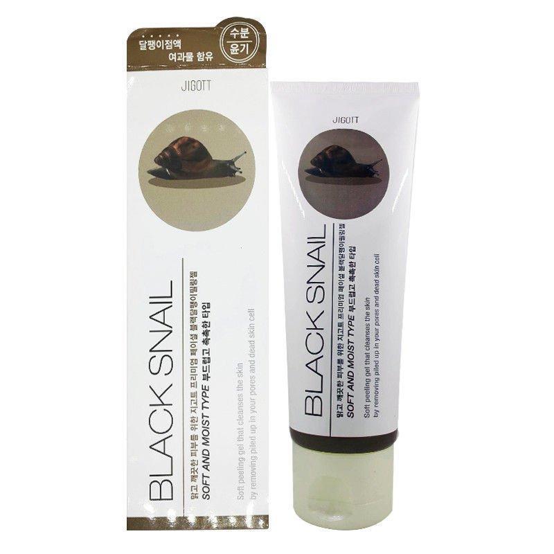 Пилинг-гель для лица черная улитка Jigott Black Snail Soft Peeling Gel 180g.