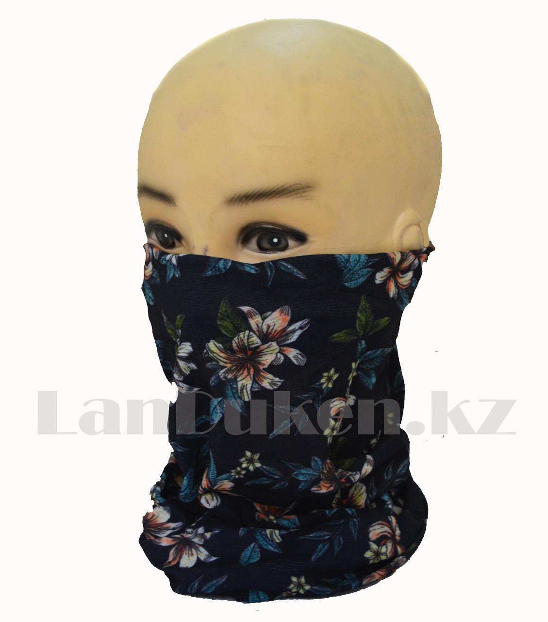 Бандана (бафф) Multi Scarf с цветочным принтом  темно синяя
