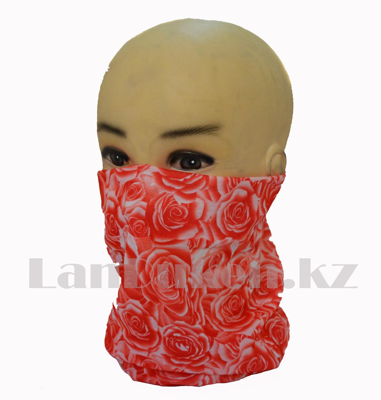 Бандана (бафф) Multi Scarf с розами красная