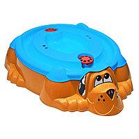 Песочница Собачка 432 с крышкой оранжевая