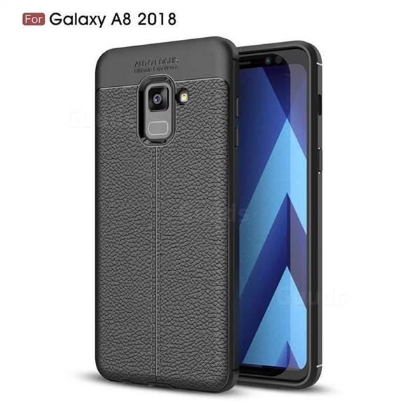 Силиконовый чехол Auto Focus Leather case для Samsung Galaxy A8 A530 2018 (черный)