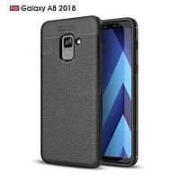 Силиконовый чехол Auto Focus Leather case для Samsung Galaxy A8 A530 2018 (черный), фото 1