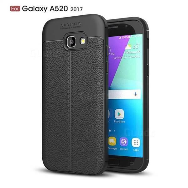 Силиконовый чехол Auto Focus Leather case для Samsung Galaxy A5 A520 2017 (черный)