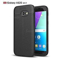 Силиконовый чехол Auto Focus Leather case для Samsung Galaxy A5 A520 2017 (черный), фото 1