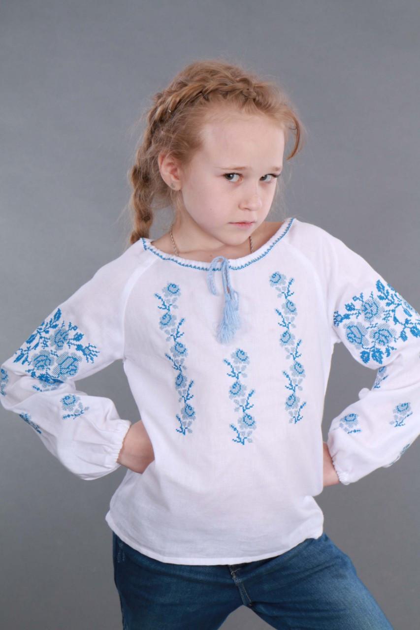 Вышитая сорочка для девочки (голубая вышивка) - фото 7