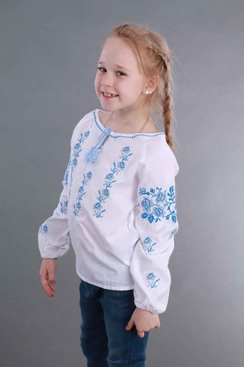 Вышитая сорочка для девочки (голубая вышивка) - фото 8