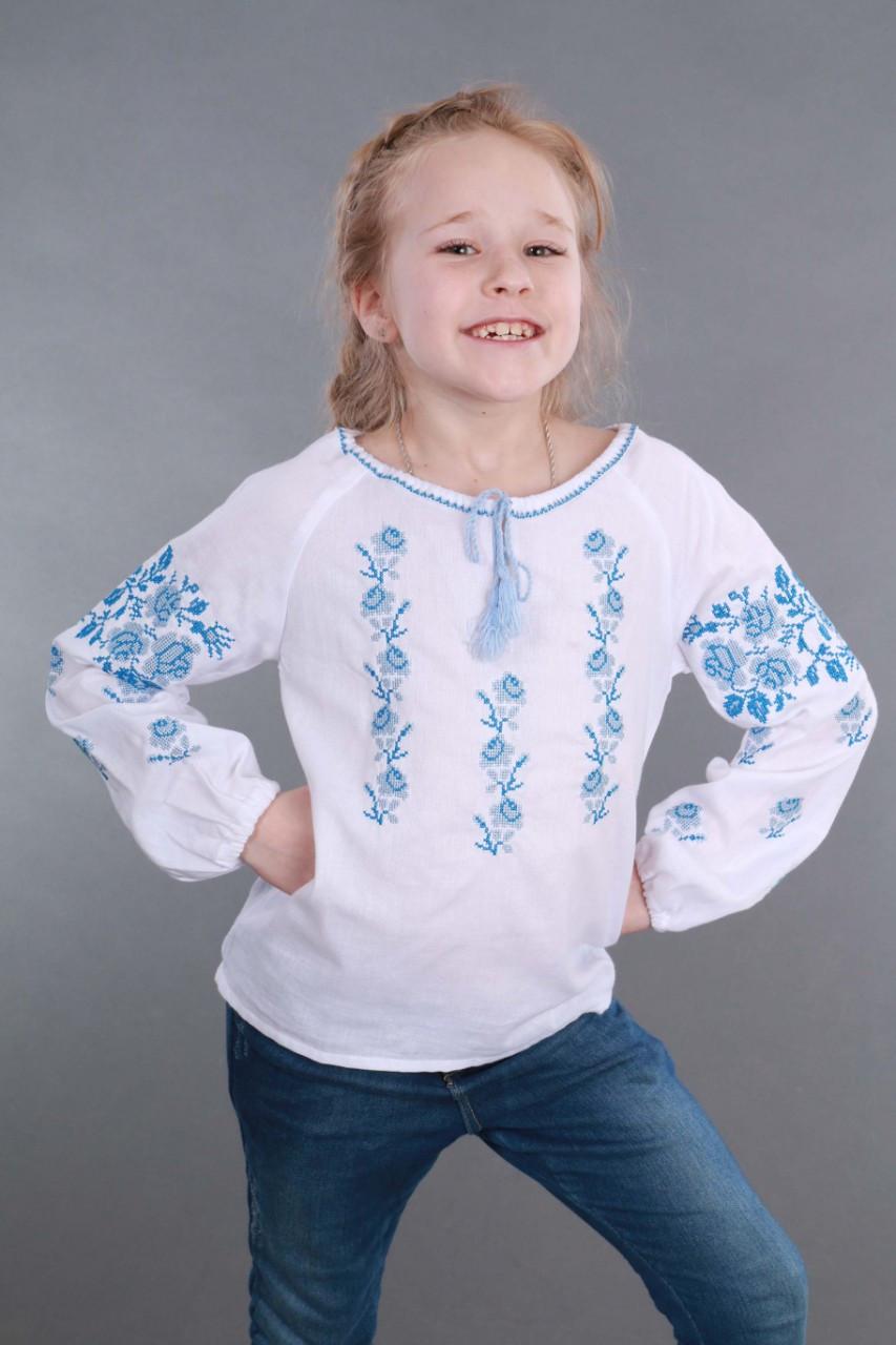 Вышитая сорочка для девочки (голубая вышивка) - фото 9