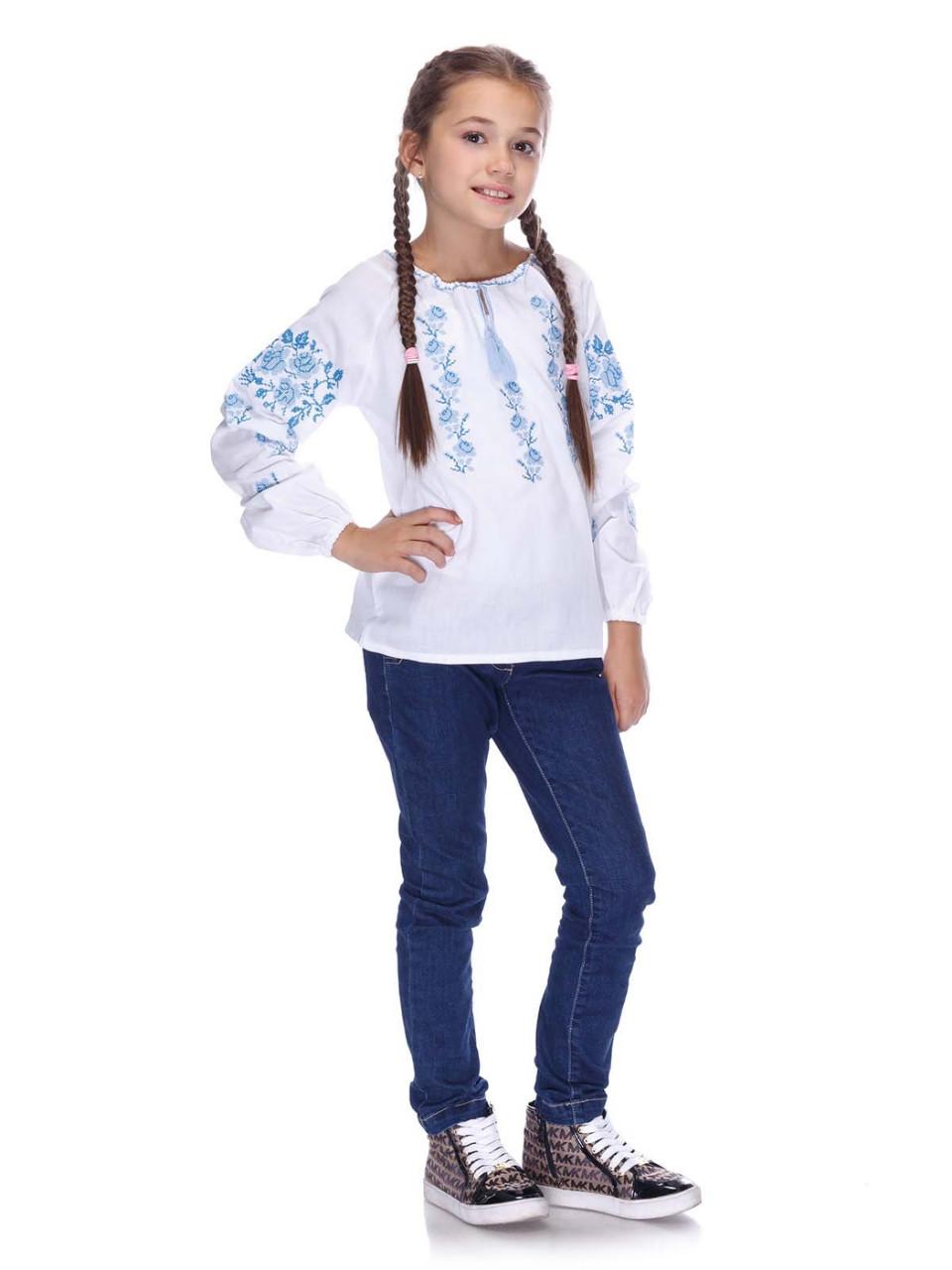 Вышитая сорочка для девочки (голубая вышивка) - фото 1