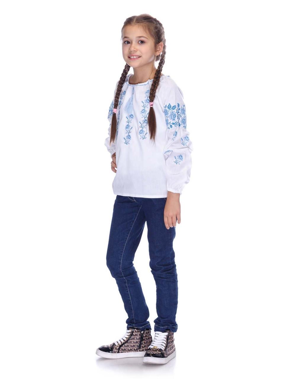 Вышитая сорочка для девочки (голубая вышивка) - фото 10