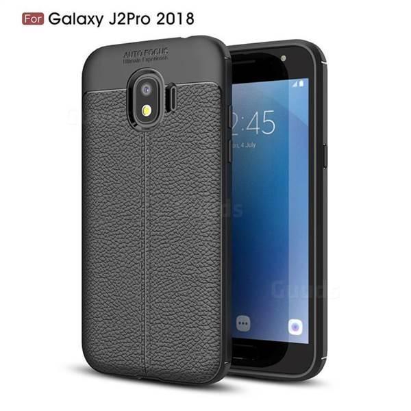 Силиконовый чехол Auto Focus Leather case для Samsung Galaxy J2 Pro J250 2018 (черный)