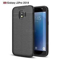 Силиконовый чехол Auto Focus Leather case для Samsung Galaxy J2 Pro J250 2018 (черный), фото 1