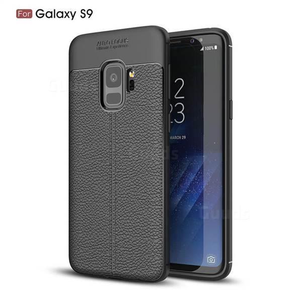 Силиконовый чехол Auto Focus Leather case для Samsung Galaxy S9 G960 2018 (черный)
