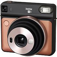 Моментальный фотоаппарат Fujifilm Instax SQUARE SQ6 Blush Gold + кожаный ремешок для камеры + две литиевые