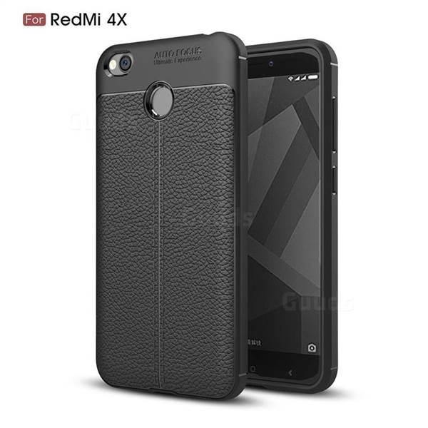 Силиконовый чехол Auto Focus Leather case для Xiaomi Redmi 4X (черный)