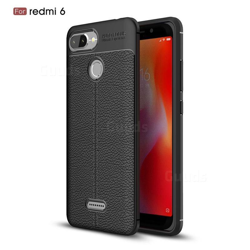 Силиконовый чехол Auto Focus Leather case для Xiaomi Redmi 6 (черный)