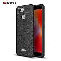 Силиконовый чехол Auto Focus Leather case для Xiaomi Redmi 6 (черный), фото 1