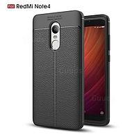 Силиконовый чехол Auto Focus Leather case для Xiaomi Redmi Note 4 (черный), фото 1