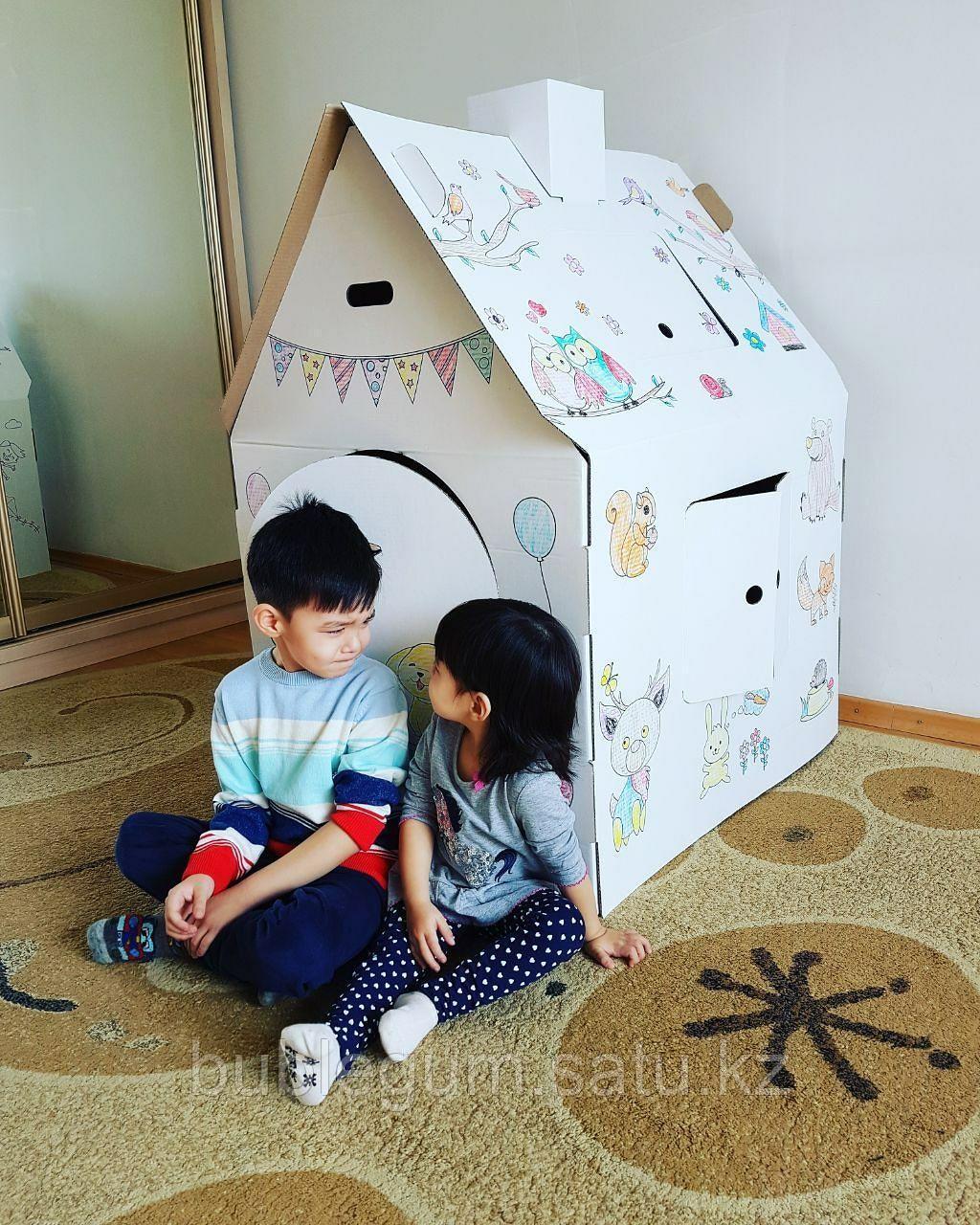 Картонный домик-раскраска для игр и рисования+мелки в подарок!