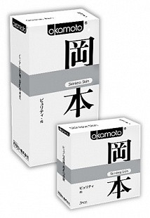 """Презервативы """"OKAMOTO SKINLESS SKIN"""" PURITY №3 (сверх-тонкие, сверх-чувствительные), 3 штуки"""