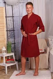 Халат-кимоно вафельный мужской. Бордовый. Россия.