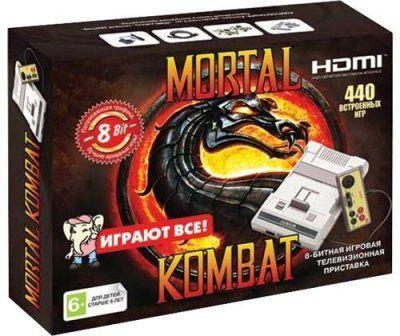 Игровая приставка 8 bit Dendy Mortal Kombat HDMI 440 в 1 + 440 встроенных игр + 2 геймпада + (Серая) Денди