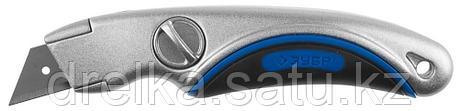 """Нож ЗУБР """"ЭКСПЕРТ"""" универсальный, метал обрезиненный корпус, фиксированное трапециевид лезвие,тип""""А24"""", 19 мм , фото 2"""
