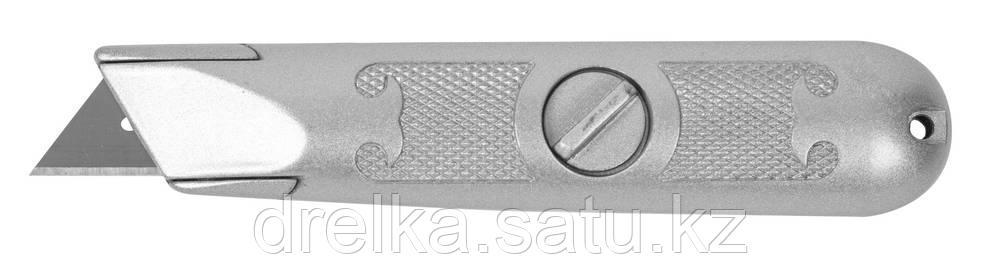 """Нож ЗУБР """"МАСТЕР"""" с трапециевидным лезвием тип А24, металлический корпус, фиксированное лезвие"""