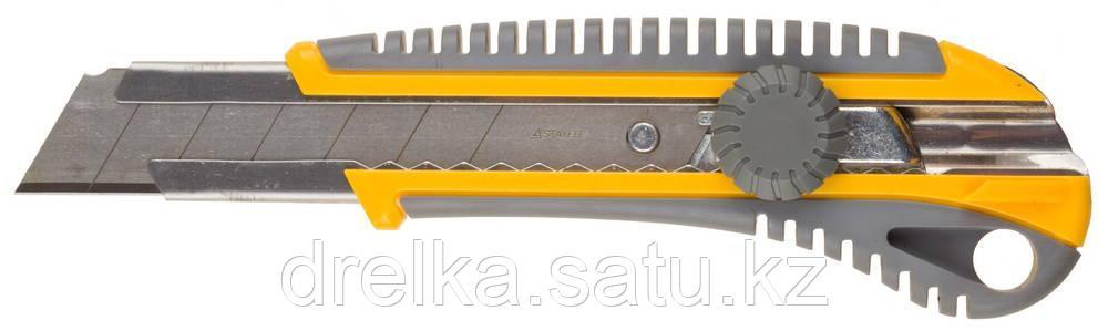 """Нож STAYER """"PROFI"""" механический фиксатор, двухкомпонентный корпус, 25мм"""
