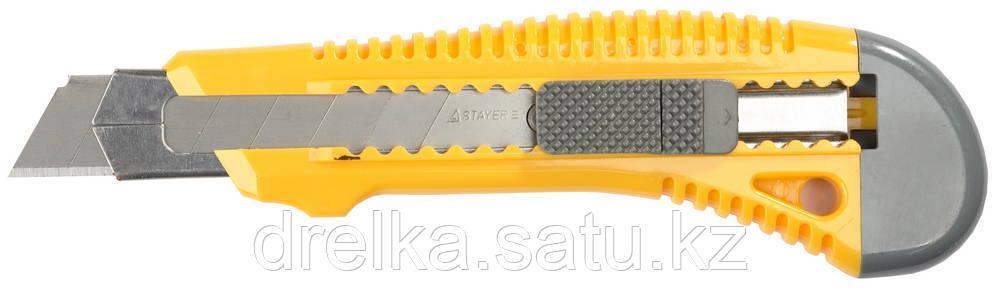"""Нож STAYER """"STANDARD"""" с выдвижным сегмент. лезвием, пластмасс. упроч.,18мм"""