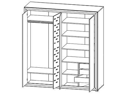 Шкаф для одежды 4Д , коллекции Мальта, Лиственница сибирская, БРВ Брест (Беларусь), фото 2