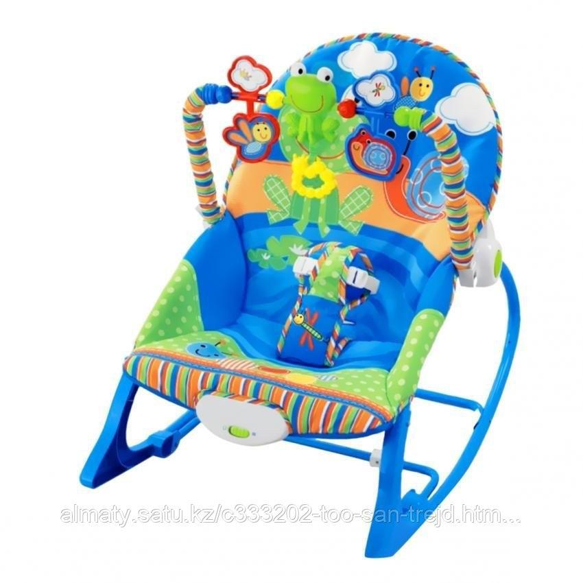 Кресло шезлонг Rocker (синий)(вибро,мелодия от игрушки)3 положения