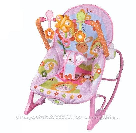 Кресло шезлонг Rocker (розовый)(вибро,мелодия от игрушки)3 положения