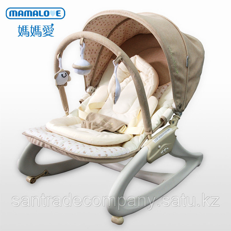 Детский шезлонг кресло-качалка Mamalove(серый )