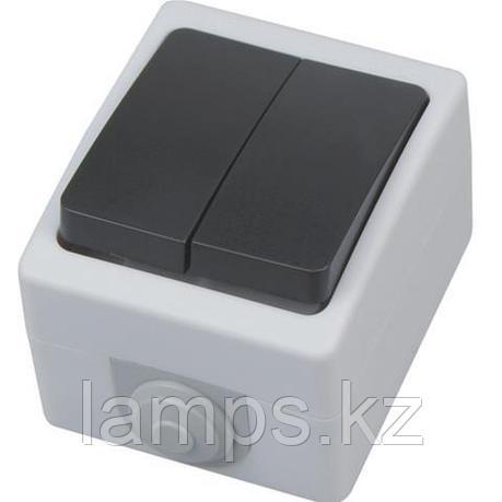 Выключатель двойной накладной ATOM 10A/ IP54, фото 2