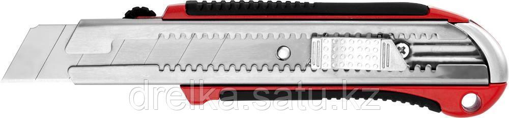 Нож URAGAN с выдвижным сегментированным лезвием, металлический обрезиненный корпус, автостоп, сталь У8А, 25мм