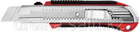 Нож URAGAN с выдвижным сегментированным лезвием, металлический обрезиненный корпус, автостоп, сталь У8А, 25мм, фото 2