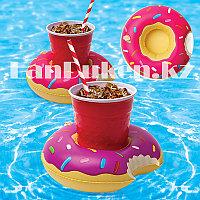 Надувная подставка под стакан для бассейна пончик (розовый)