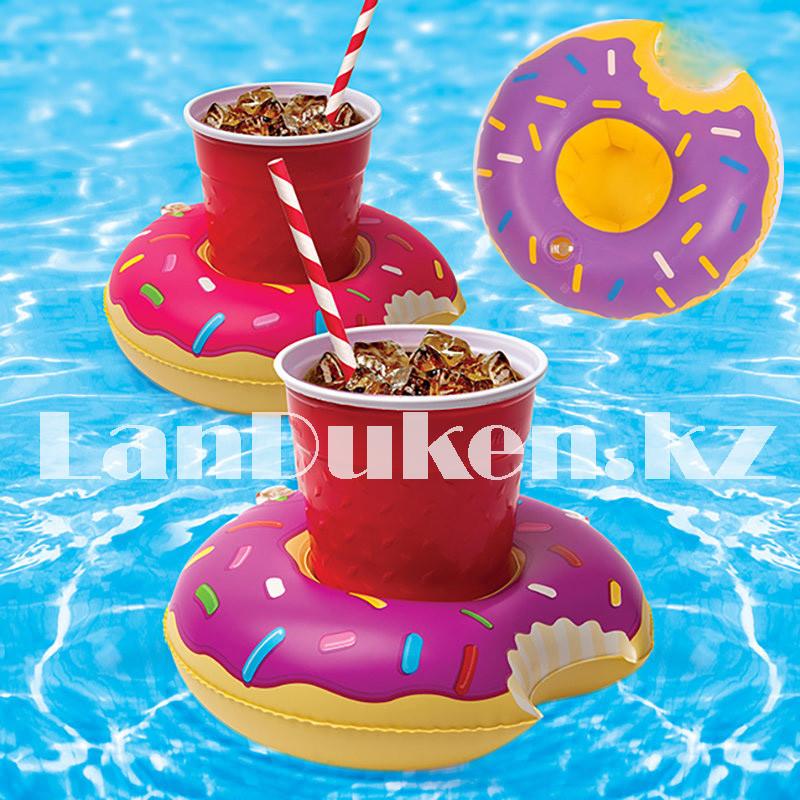 Надувная подставка под стакан для бассейна пончик (фиолетовый)