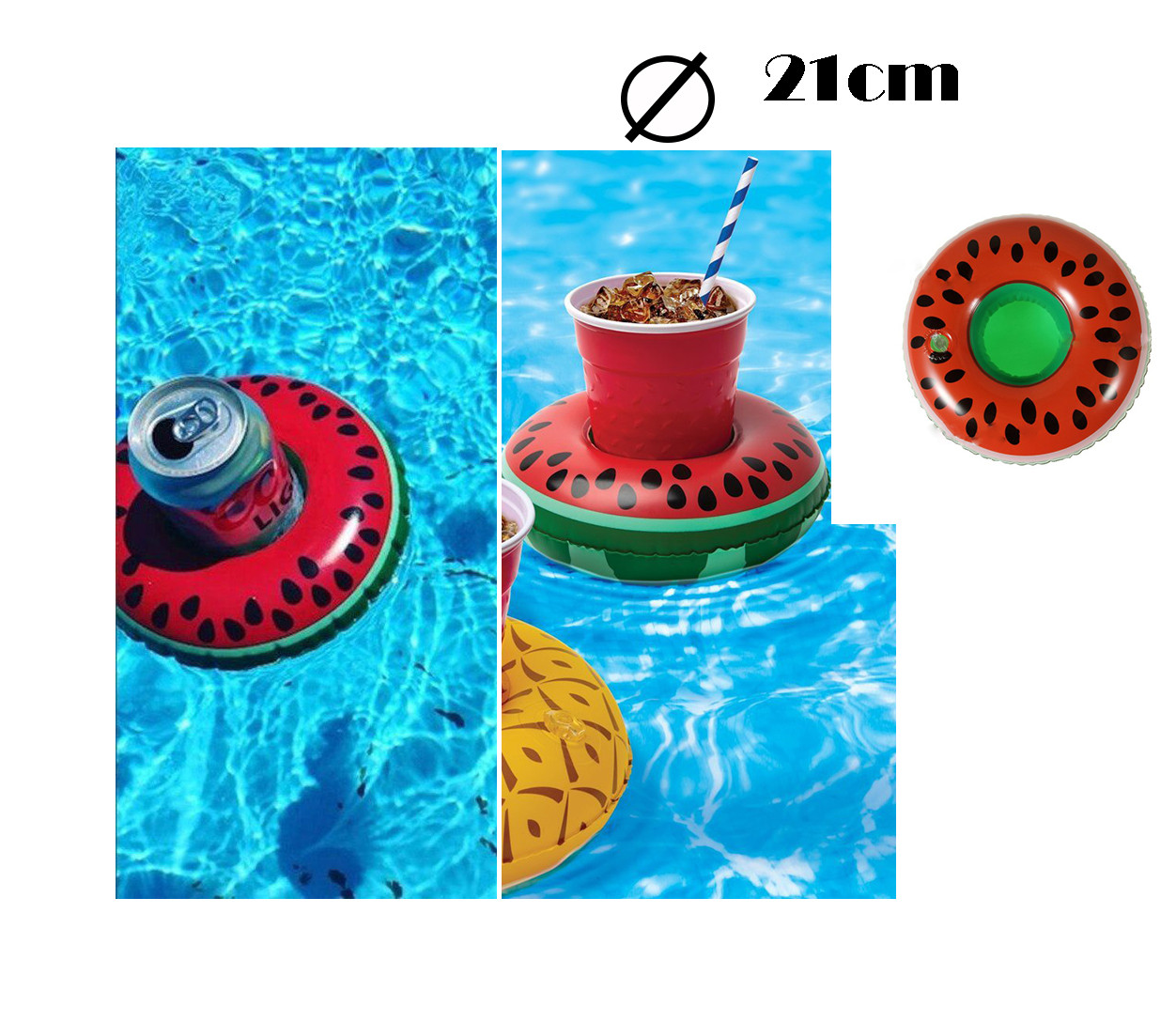 Надувная подставка под стакан для бассейна арбуз