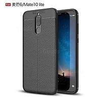 Силиконовый чехол Auto Focus Leather case для Huawei Mate 10 Lite (черный) , фото 1