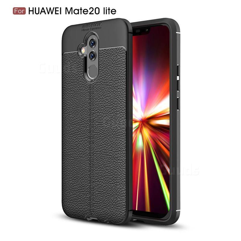 Силиконовый чехол Auto Focus Leather case для Huawei Mate 20 Lite (черный)