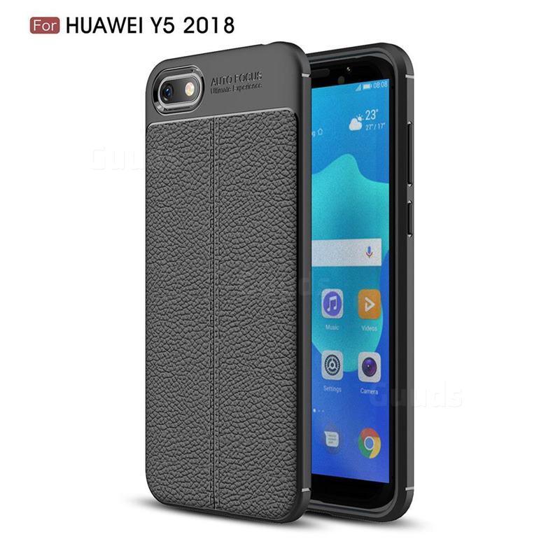Силиконовый чехол Auto Focus Leather case для Huawei Y5 2018 (черный)