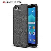 Силиконовый чехол Auto Focus Leather case для Huawei Y5 2018 (черный) , фото 1